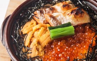 雲丹と鮭イクラの土鍋めし